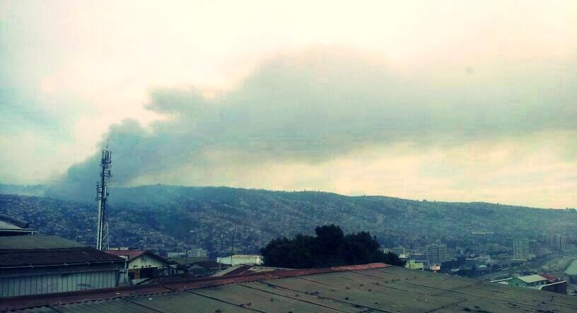 Incendio 23 de Abril desde Cerro Barón.